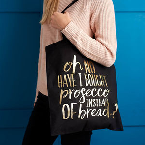 Prosecco Black And Gold Metallic Foil Bag - gifts for her
