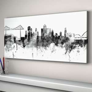 Middlesbrough Skyline Cityscape Black White
