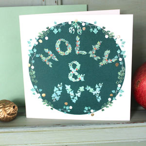 Holly And Ivy Square Cards Green