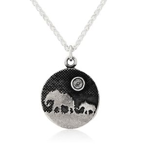 Elephant And Child Sapphire Moon Necklace
