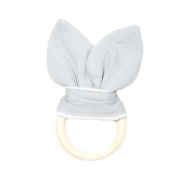 Wooden Teething Ring With Organic Cotton Animal Ears
