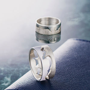 Men's Coastline Map Ring - gifts for him