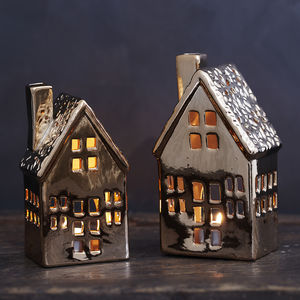 Copper Ceramic House Tealight Holder - home accessories