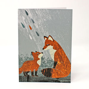 Fox And Cub Card