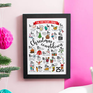 Personalised Christmas Advent Calendar Print