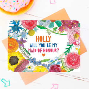 Be My Maid Of Honour Personalised Flower Card - be my bridesmaid?