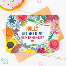 Be My Maid Of Honour Personalised Flower Card