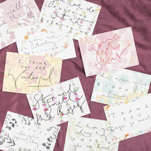 Pack Of 10 Floral Print Hand Lettered Postcards