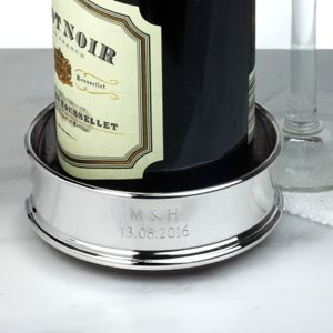 Silver-Plated Personalised Wine Coaster - best personalised corporate gifts