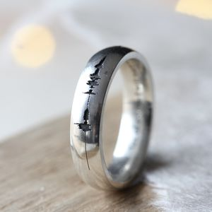 Silver Soundwave Personalised Ring