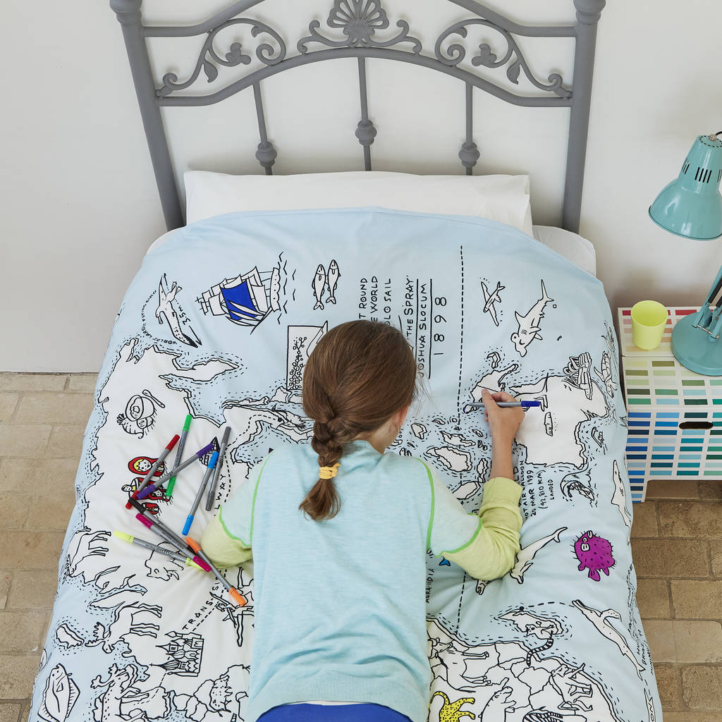 World map duvet colour and learn by eatsleepdoodle kids world map duvet cover gumiabroncs Image collections