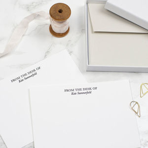 Personalised 'From The Desk Of' Letterpress Notecards - writing