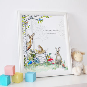 Personalised Woodland Animals Nursery Print - christening gifts