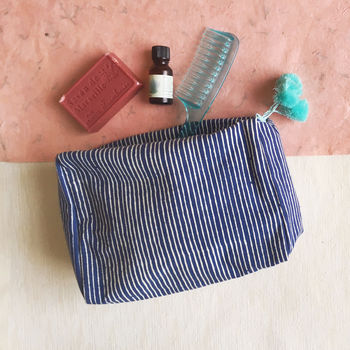 Wash Bag, Blue Block Printed, Ethically Made