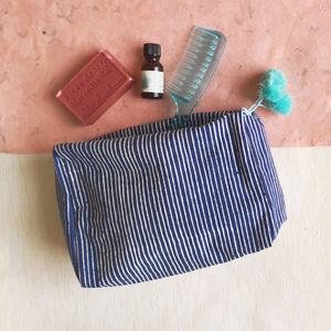 Wash Bag, Blue Block Printed, Ethically Made - sun appreciation society