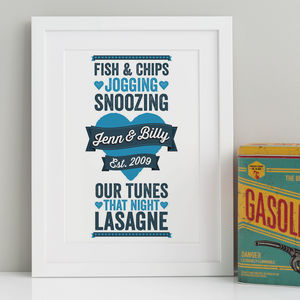 Personalised 'Things We Love' Print