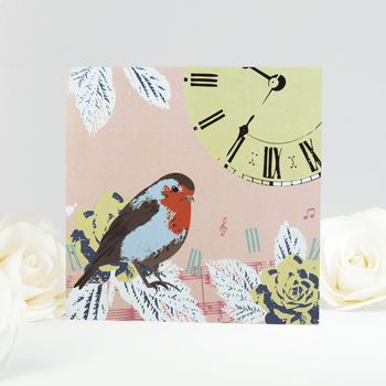 Vintage Robin And Clock Greeting Card