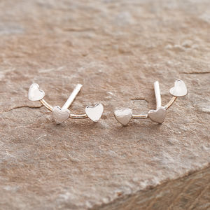 Silver Hearts Ear Studs - earrings