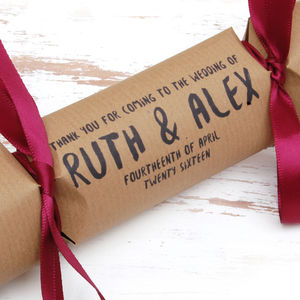 Six Personalised Homespun Wedding Crackers - what's new