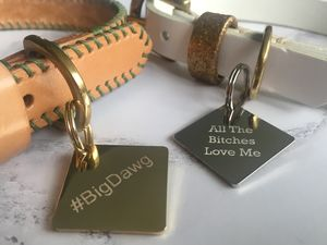 Personalised Engraved Diamond Dog Tag - dogs