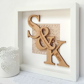 Lace Anniversary Oak Initials Artwork