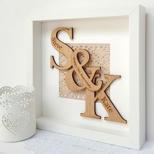 Lace Anniversary Oak Initials Artwork - shop by subject