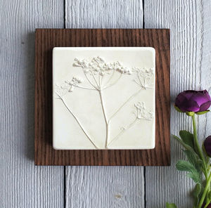 Cow Parsley Plaster Cast Tile - nature & landscape