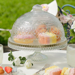 Footed Glass Cake Stand With Glass Dome