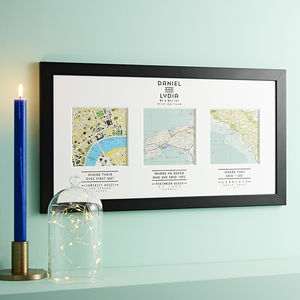 Personalised Map Wedding Art - valentines lust list