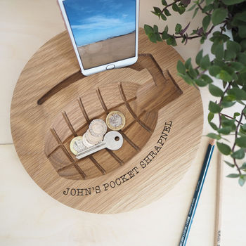 Personalised Oak Grenade Dish And Phone Holder