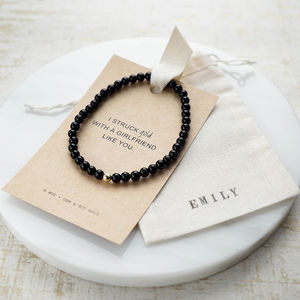 Girlfriend Onyx Struck Gold Bracelet