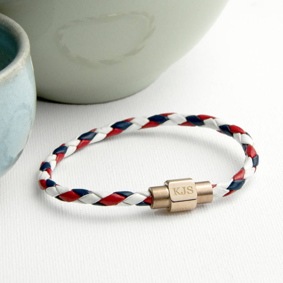 Personalised Men S Nautical Leather Bracelet