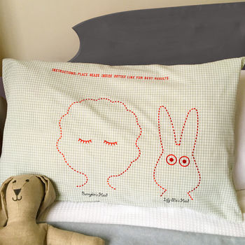 Bunny pillowcase for children and their favourite toy