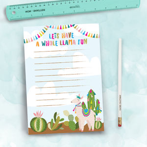 Llama Cacti Notepad To Do List And Pencil Set