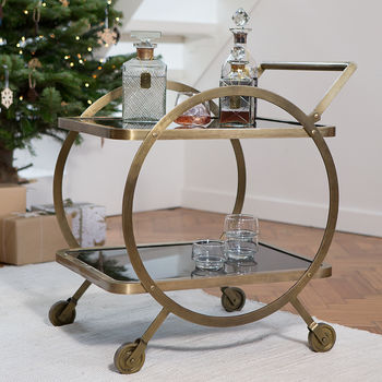 Art Deco Metal Trolley On Casters