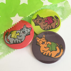 Cats Playing With Yarn Badge Set - pins & brooches