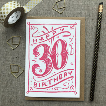 30th Birthday 30th Card Pink Chalk