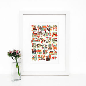 Jersey Alphabet, Illustrated Giclée Wall Art Print