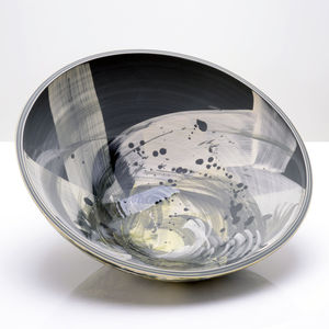 Black Stars Design Handmade Large Low Centre Bowl