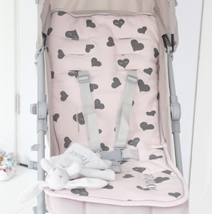 Personalised Heart Print Pram Liner