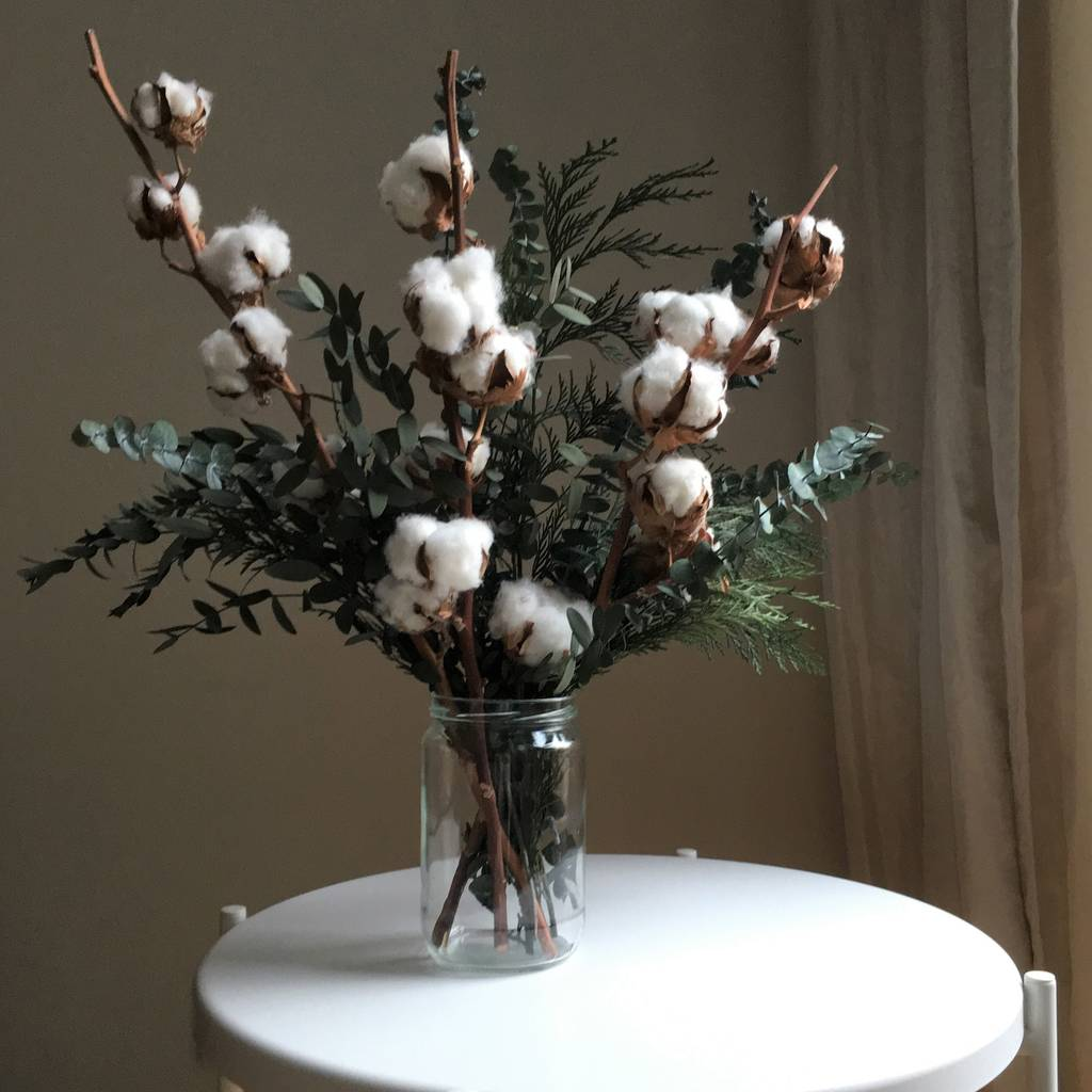 Preserved Eucalyptus Cotton Flower Sustainable Bouquet By Shida Preserved Flowers Notonthehighstreet Com
