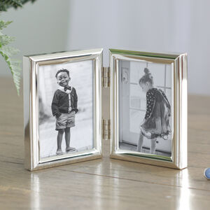 Mini Silver Folding Double Photo Frame