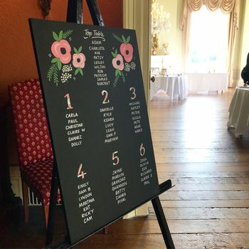 A2 Wedding Table Plan Wood Hand Painted