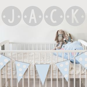 Circle Star Name Fabric Wall Stickers - children's room