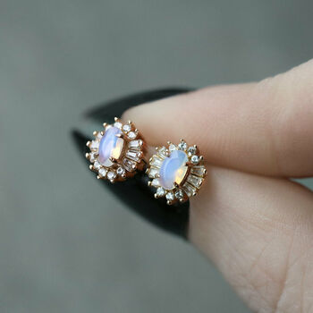 Opal Cluster Sterling Silver Or Gold Earrings