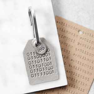 Binary Code Message Keyring - valentine's gifts for him