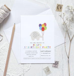 Elle Elephant Celebration Invitation - personalised