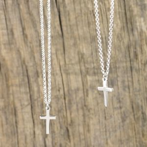 Mini Silver Cross Charm Necklace