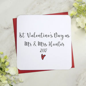 1st Valentine's Day As Mr And Mrs Card - valentine's cards