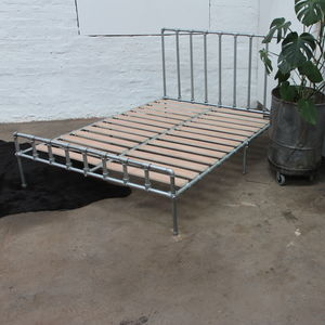 Rackham Galvanised Industrial Kingsize Bed Frame - beds